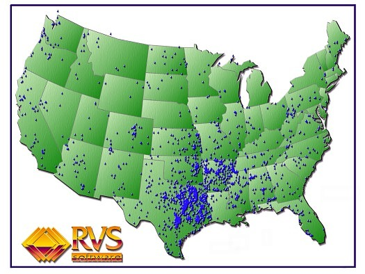 Map of RVS Software customers all over the United States